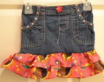 Upcycled jean skirt in Doc McStuffins print