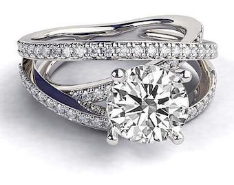 Handmade Moissanite Engagement Ring, 14K White Gold Ring Accented Promise Ring, 1.5 TCW Forever One Moissanite