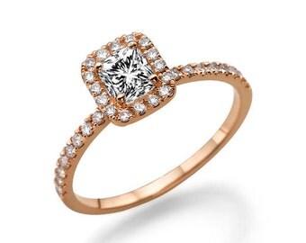 Rose Gold Cushion Cut Engagement Ring, Halo Ring, 0.85 TCW Diamond Ring Band, Unique Engagement Ring, Halo Engagement Ring