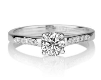 Forever One Moissanite Engagement Ring, 14K White Gold Ring, 0.6 TCW Moissanite Ring, Unique Engagement Ring