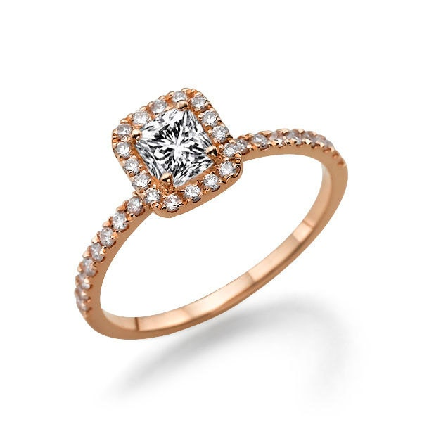 Rose Gold Cushion Cut Engagement Ring Halo Ring 0 85 TCW