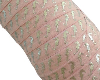 """Powder Pink with Silver Metallic Seahorses 5/8"""" Fold Over Elastic - 1, 3 or 5 yards"""