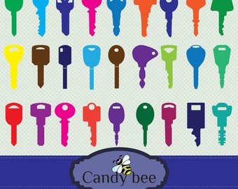 Fancy And Colorful Keys digital clip art set/ Personal and Comercial use. 371