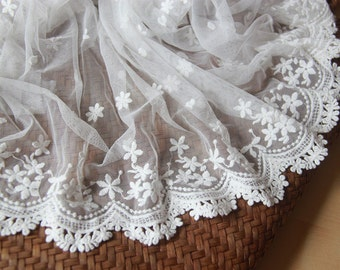 White Bridal Lace Trim Embroidered Mesh Fabric Lace Floral Lace 40cm  Wide Lace By The Yard