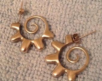 Vintage 1970s Sterling Silver Wavy Hoop Earrings, Postmodernism  Fun Funky Hoops
