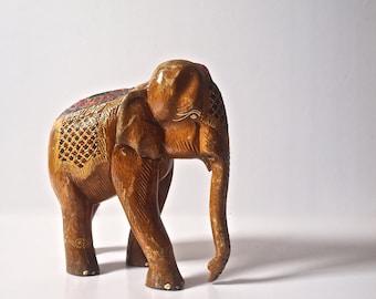 Vintage Wooden Elephant Sculpture - Bangkok Thailand 1990, Wood Elephant Statue, Wooden Elephant Figurine