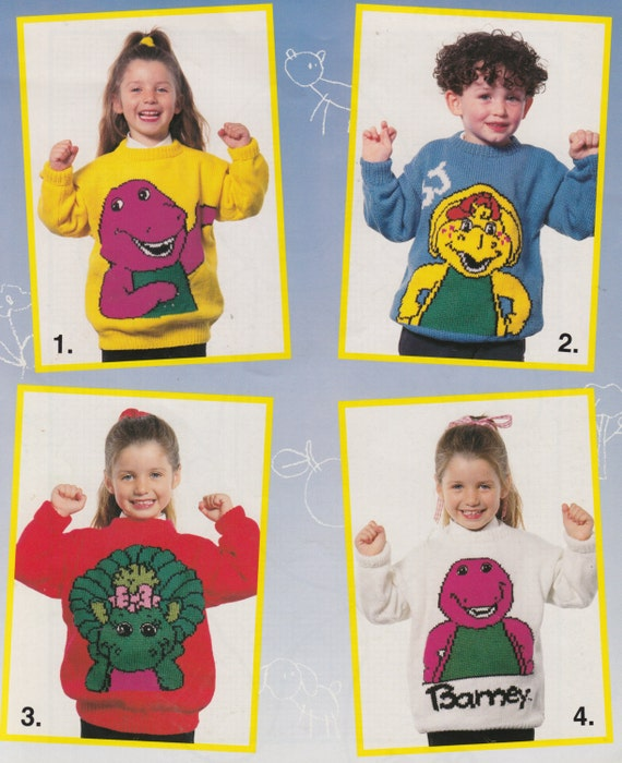 Barney the dinosaur knitting pattern sweaters for children and