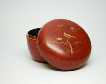 Circular Wood Lacquer Box with Painted Bird and Tree on Lid