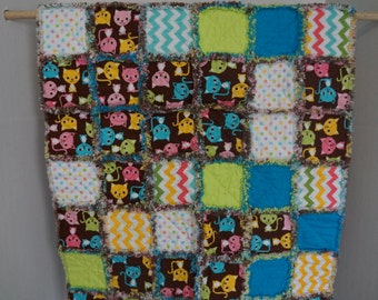 Infant Rag Quilt with Chevron