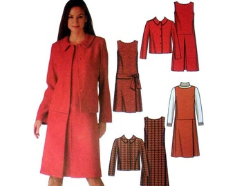 "Women's Dress or Jumper and Jacket Sewing Pattern Misses / Miss Petite Size 4, 6, 8, 10 Bust 29.5 - 32.5"" Uncut Simplicity 5902"