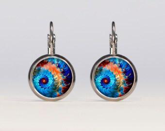 Fractal earrings 16mm Fractal Jewelry french earrings dangle earrings