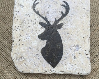 Stone Deer Coasters, Set of four