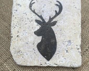 Stone Deer Coasters, Set of four