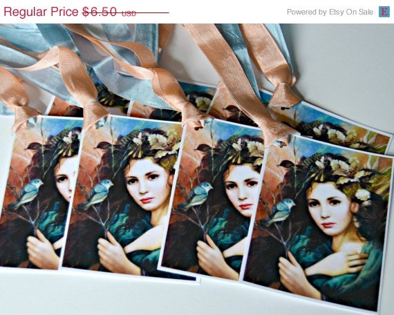 ON SALE Young Lady with Blue Bird and Exotic Flowers Tags