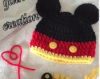 Crochet Mickey Mouse inspired Beanie Hat Disneyland Picture Prop Announcements Disney