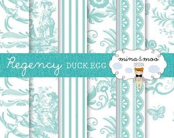 Regency digital papers - Duck Egg Blue