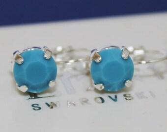 Opaque Turquoise Leverback Earrings Light Blue Bridesmaids Earrings Swarovski Crystal Elements LadyCJewellery