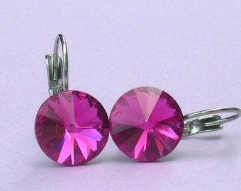 Fuchsia 12mm Rivoli Earrings made with Swarovski Crystal Elements