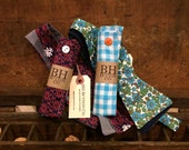 Custom Made Pocket Square & Bow Tie. Made to order from your textile.  BH Button Co. Forgotten Textiles Revived.
