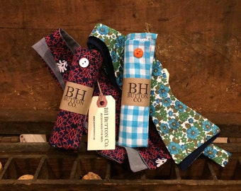 Custom Made Pocket Squares - Made to order from your textile.  BH Button Co. Forgotten Textiles Revived.