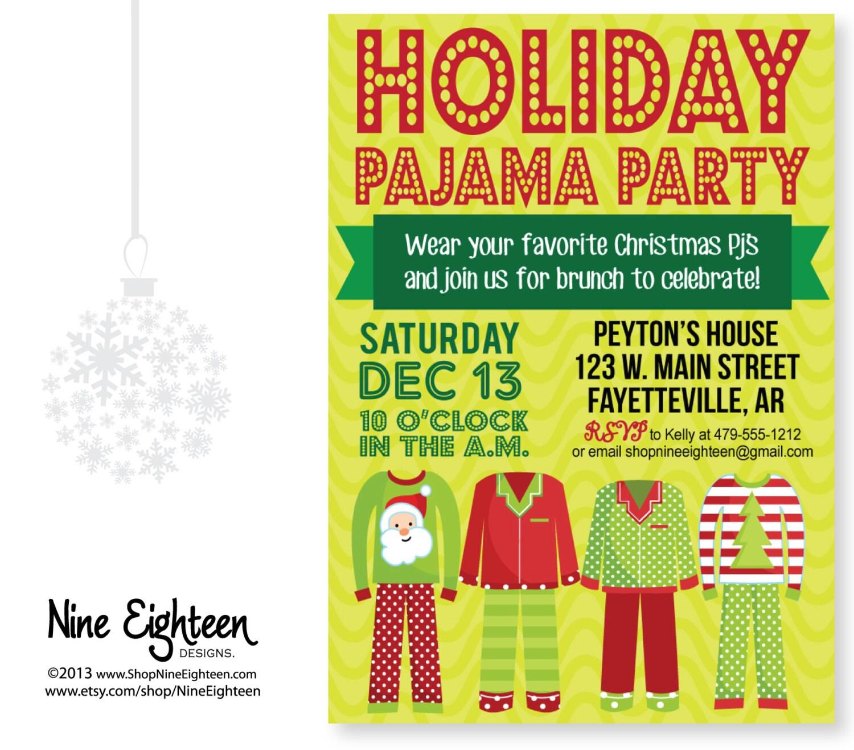Christmas Pj Party Invitation as best invitations sample