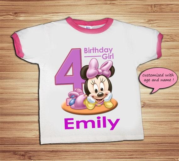 Personalized Minnie Birthday Pink Ringer T Shirt - Disney, Clubhouse, Minnie, Goofy, Mickey