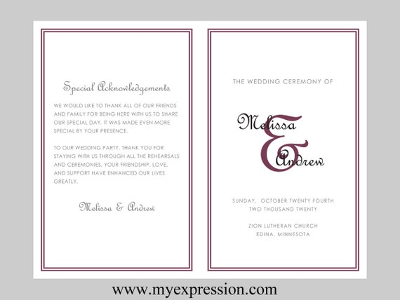 DIY Wedding Program Template (BiFold)– Monogram Initial with Wine ...