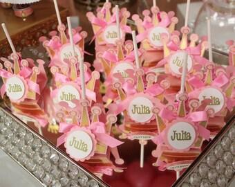Crown Lollipop Wrappers - SET OF 12, Princess party favors, royal party, lollipop favors