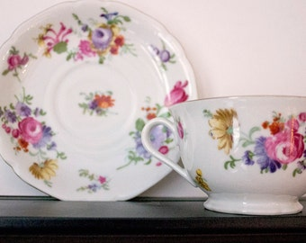 Victoria Teacup and Saucer with gold trim