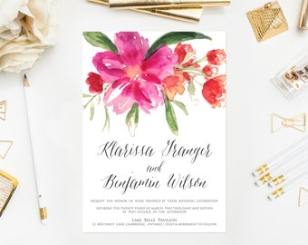 PRINTABLE Wedding Invitation - Hot Pink Hand Painted Watercolor Flower Posy Wedding Invitation - Garden Wedding invitation