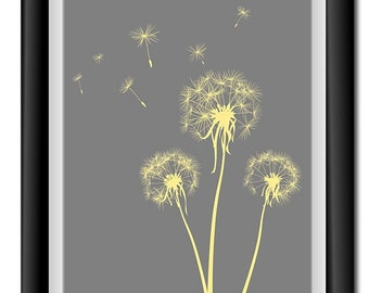 Flower Dandelion Print Grey Yellow Flowers Print Wall Decor Modern Minimalist Bathroom Bedroom Living room
