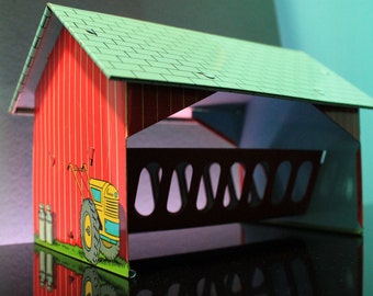 Ohio Art Cattle Feeder Barn Vintage Tin Litho Farm Playset