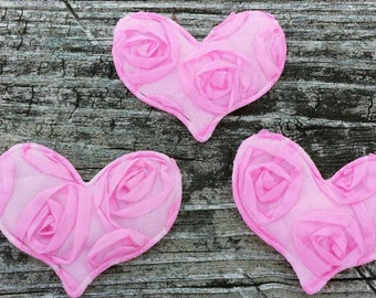 Set of 3 Pink,  Puffy Satin Hearts with adhesive sticker