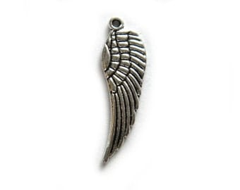 10 Silver Angel Wing Charms  - 18mm