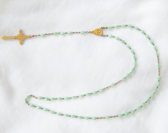 Vintage Green Glass Rosary Beads With Crucifix
