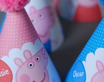 5 Peppa Pig George Pig Personalised Childrens Birthday Party Wool Pom Pom Hat Pink Blue