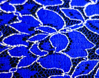 Royal Blue Lace Fabric with Silver Embroidery