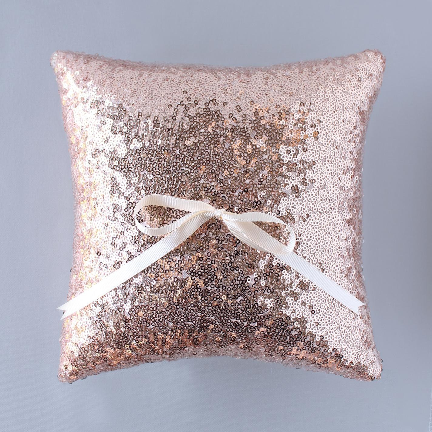 ring bearer pillow rose gold glittering sequin 10 in x 10 in. Black Bedroom Furniture Sets. Home Design Ideas