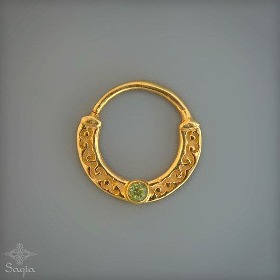 gold septum with 24k gold real septum nose ring for