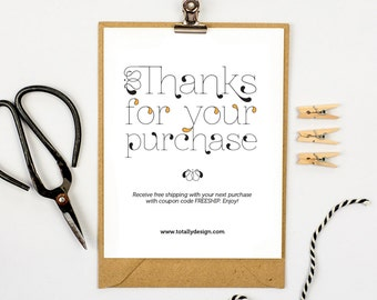 Business Thank You Cards INSTANT DOWNLOAD - Lightly Fancy