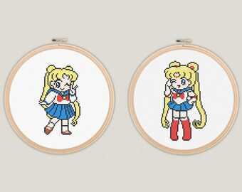 Sailor Moon Uniform School Girl Cross Stitch - PATTERN