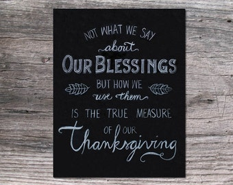"The True Measure of our Thanksgiving Chalk Art 11x14"" digital download and printable"