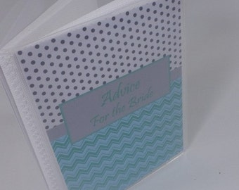 Bridal Shower Advice Book Personalized Bridal Shower Guest Book wedding mint gray chevron 4x6 or 5x7 picture album 052M