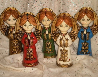 5 Small Vintage Retro Japan Papier Mache Plaster of Paris Jeweled Angels Halos Wings