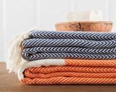 Herringbone Towel, Bath Towel, Turkish Towel, Peshtemal, Hammam Towel, Navy, Orange