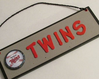 MLB Minnesota Twins Baseball Team Room Sign - Baseball Room Sign - Baseball Man Cave