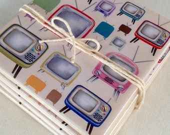 Ceramic Tile Coasters - Retro TV's
