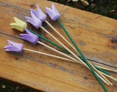 Vintage Swedish Wooden Flowers, Set of 6 Colorful Lilac Yellow Wooden Tulips Handcrafted @84