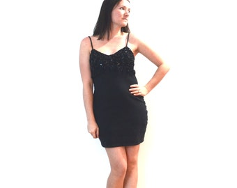 Vintage Little Black Dress Sequins Beads Fringe Spaghetti Straps Sweetheart Neckline Mini Dress Small Medium