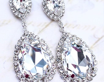 Crystal Bridal Earrings - Diamond Bridal Jewelry - Cubic Zirconia Earrings - Pear Drop Earrings - Persian Wedding Earrings - Pageant Earring